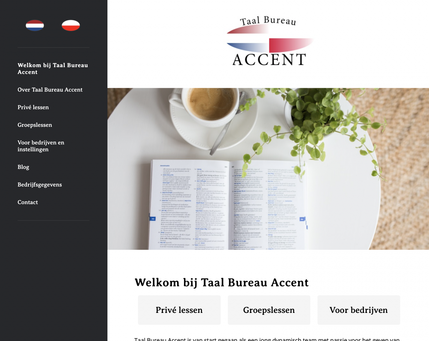Screenshot van de oude website van Taal Bureau Accent