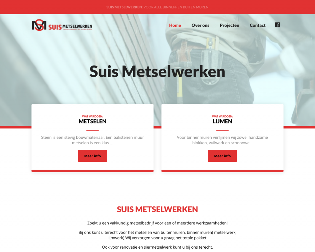 Screenshot van de website van Suis Metselwerken