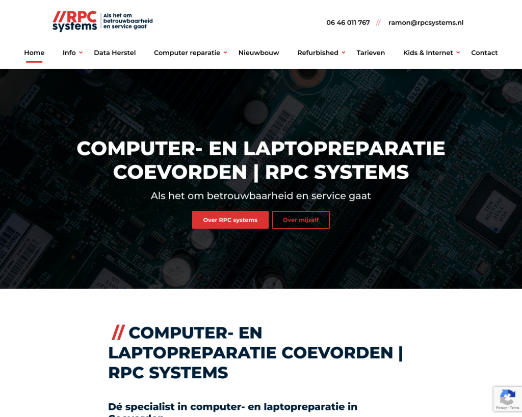 Screenshot van de website van RPC Systems
