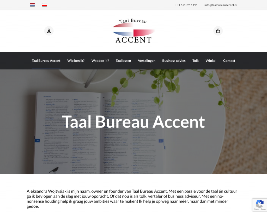 Screenshot van de website van Taal Bureau Accent