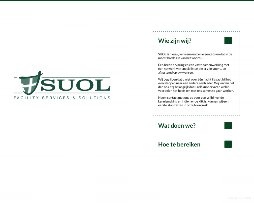 Screenshot van de website van Suol FSS