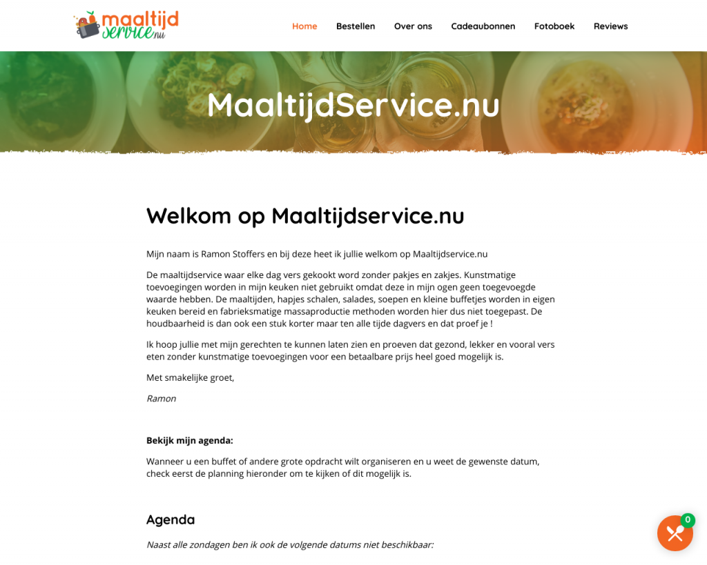 Screenshot van de website van Maaltijdservice.nu